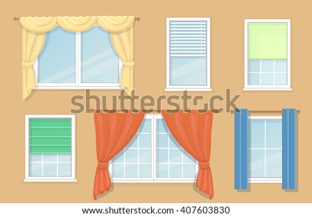 illustration of design options and types of windows curtains - Types Of Curtains For Windows