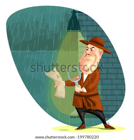 illustration of detective agent searching clues in vector - stock vector
