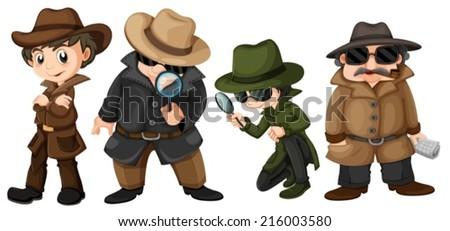 Illustration of detectives set - stock vector