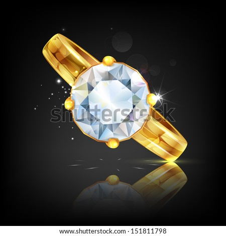 illustration of diamond embedded in gold ring - stock vector