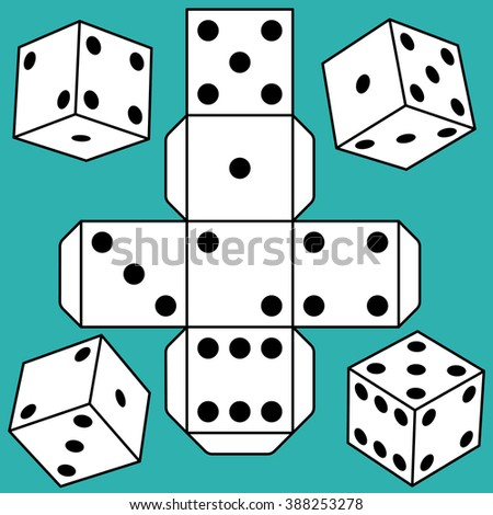 Illustration of dice icons and cube template - stock vector