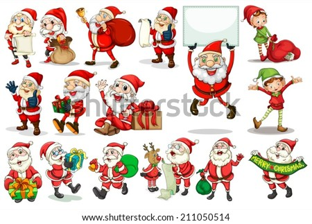 Illustration of different actions of santa - stock vector