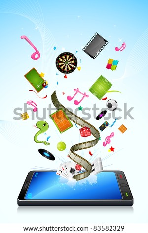 illustration of different  application poping out of mobile phone - stock vector