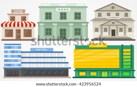 Illustration of different building. Cinema house, coffee shop, Hotel, Museum and Bank