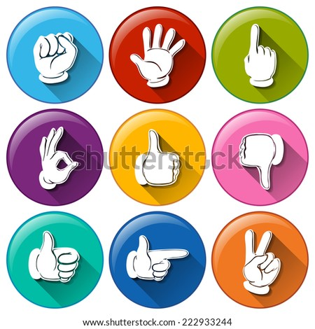 Illustration of different color hand icons