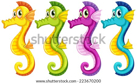 Illustration of different color sea horses