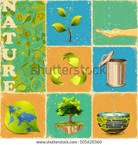 illustration of different concept of recycle in collage - stock vector
