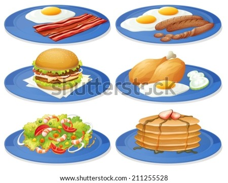 Illustration of different dishes of breakfast - stock vector