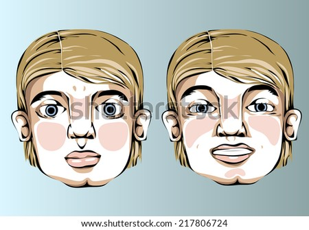 Illustration of different facial expressions of a man with straight blond hair.