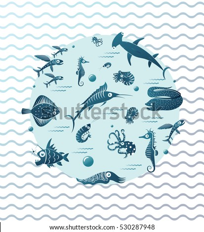 Illustration of different fishes in circle on wavy background. Flying fish, Flounder fish, Moray Eel, jumping Marlin, Seahorse, Cuttlefish, Nautilus, Octopus, Shrimp, Angler fish, Hammerhead shark.