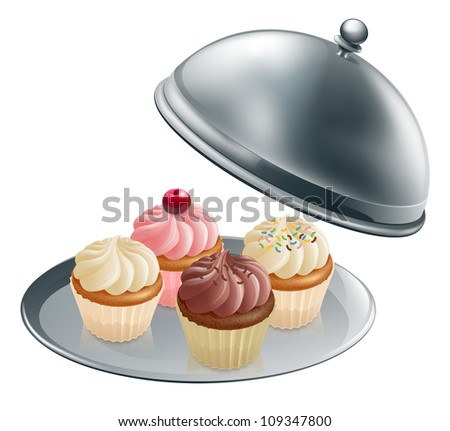 Illustration of different flavour cupcakes on a silver platter - stock vector