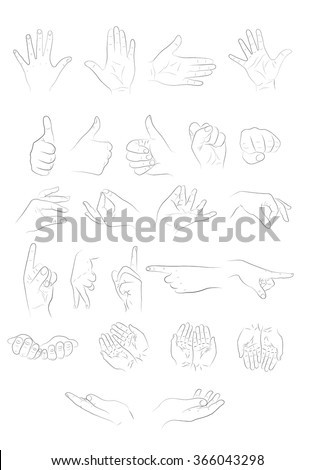 illustration of different hand positions. line art