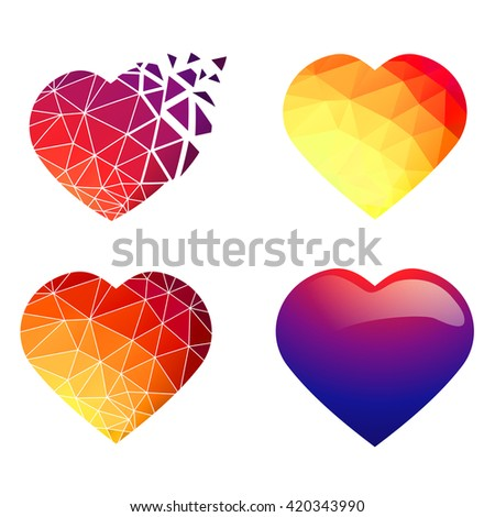 Illustration of Different Heart Design Collection Over White - stock vector
