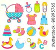 illustration of different item for baby including toys and dress - stock vector