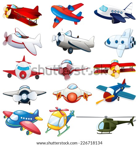 illustration of different kind of planes - stock vector