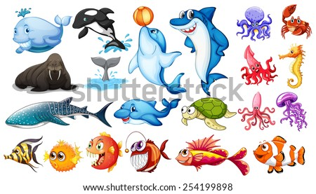 Illustration of different kind of sea animals - stock vector