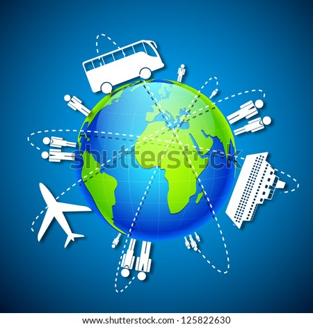 illustration of different means of transportation around globe - stock vector