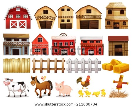 Illustration of different pictures of farm - stock vector
