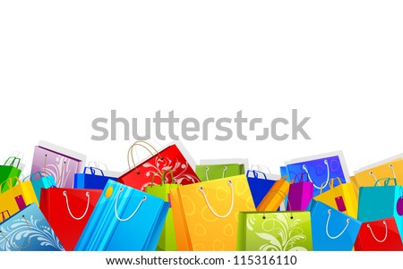 illustration of different shopping bag on sale background - stock vector