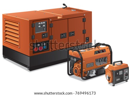 illustration of different type of industrial and small power generators