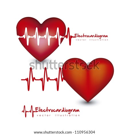 Illustration of different types of hearts with heart beat isolated on white background, vector illustration - stock vector