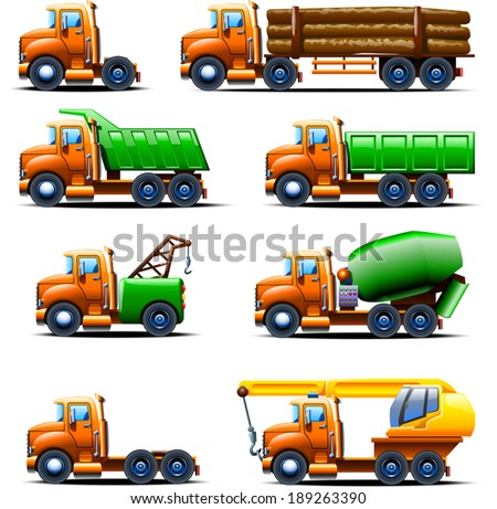illustration of different types of old fashioned trucks in one style - stock vector
