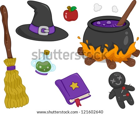 Illustration of Different Witchcraft Items Design Elements - stock vector