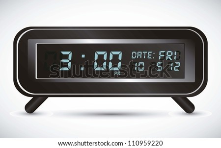 illustration of digital clock, isolated on white background, vector illustration - stock vector