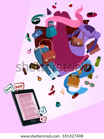 illustration of digital shop for women by gadget with various thing flew above - stock vector