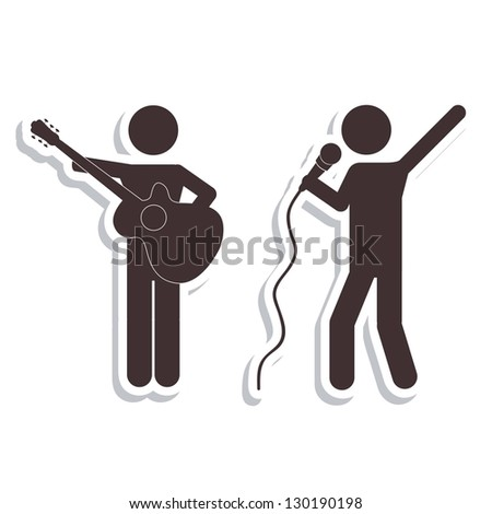 Illustration of Disco and Dance Icons, vector illustration - stock vector