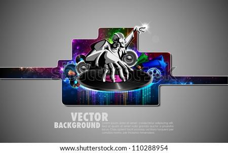 illustration of disco jockey playing music on poster - stock vector