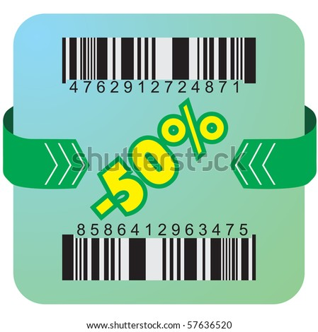Illustration of 50 % discount with bar codes, and arrow - stock vector