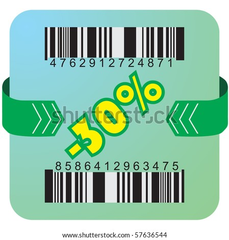 Illustration of 30 % discount with bar codes, and arrow - stock vector