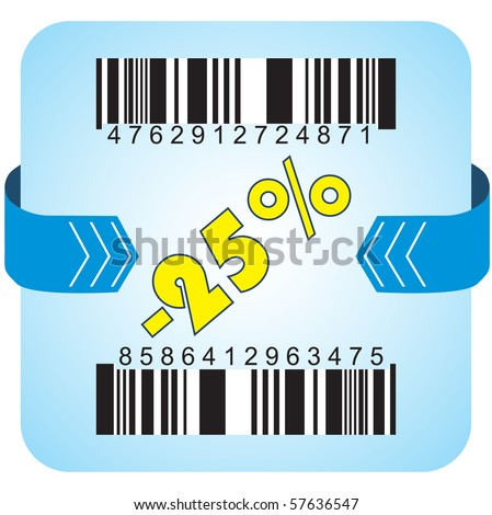 Illustration of 25 % discount with bar codes, and arrow - stock vector