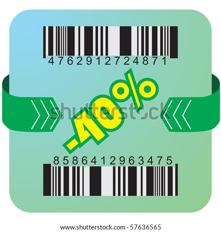 Illustration of 40 % discount with bar codes, and arrow - stock vector