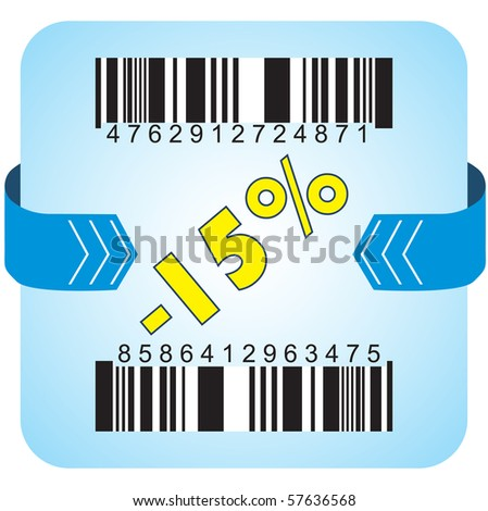 Illustration of 15 % discount with bar codes, and arrow - stock vector