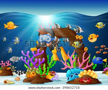 illustration of diver under the sea - stock vector