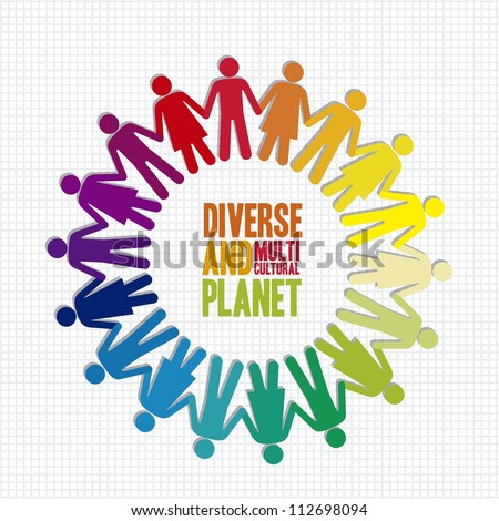 illustration of diverse and multicultural people in the planet, vector illustration - stock vector