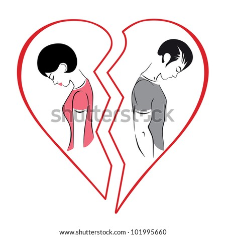 Illustration of divorce in the family, the gap between men and women. - stock vector