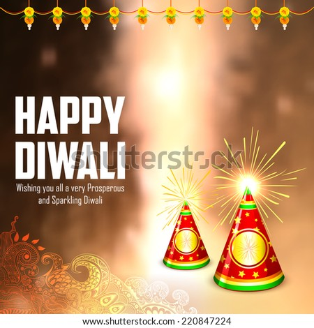 illustration of diwali background with colorful firecracker - stock vector