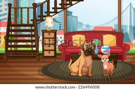 Awesome Illustration Of Dogs Sitting In The Living Room Part 24
