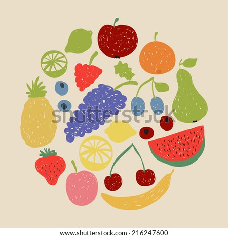 Illustration of doodle fruit circle in retro colors