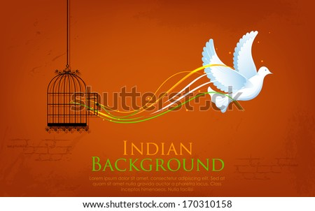 illustration of dove flying out from cage showing freedom of India - stock vector