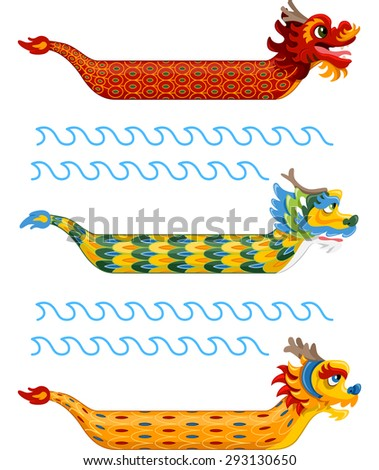 Illustration of Dragon Boats with Varied and Colorful Patterns - stock vector