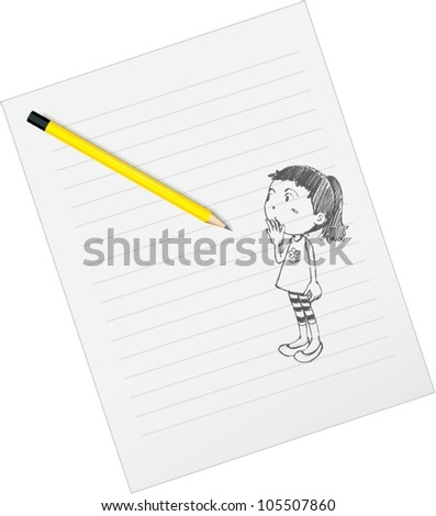 illustration of drawing paper and pencils on a white background - stock vector