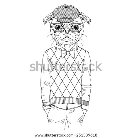 Illustration Of Dressed Up Pug Doggy Hipster Style