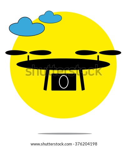 Illustration of drone with clouds and yellow circle background - stock vector