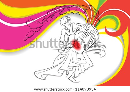 illustration of drummer playing dhol in Durga Puja - stock vector