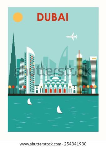 Illustration of Dubai city. Vector - stock vector