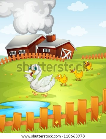 illustration of ducks and ducklings in nature - stock vector